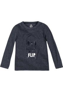 "Camiseta ""Skate""- Azul Marinho & Brancahering"