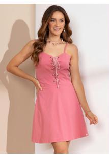 Vestido Rosê Com Corselet Frontal