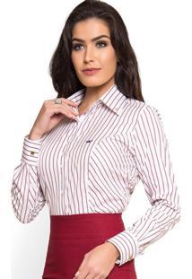 Camisa Social Premium Listrada Principessa Mila Branco Marsala