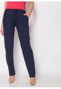 Calça Pantalona Com Bolsos- Azul Marinho- Vittrivittri