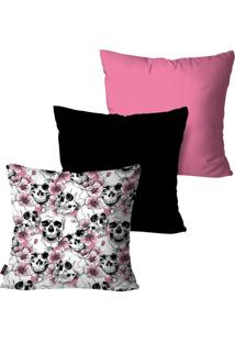 Kit Com 3 Capas Para Almofadas Pump Up Decorativas Rosa Multi Caveiras 45X45Cm