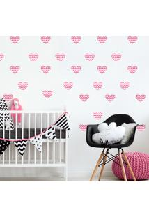 Adesivo De Parede Quartinhos Infantil Coração Rosa Chevron