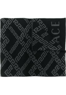 Versace Cachecol Com Padronagem Greek Key - Preto