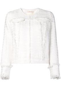 Tory Burch Jaqueta Slim De Tweed - Branco