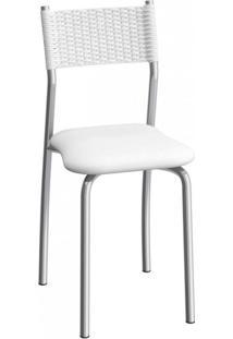 Cadeira De Aço Mônaco C142 Compoarte Cromado/Branco