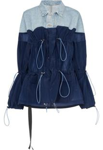 Unravel Project Jaqueta Jeans E De Nylon - Azul
