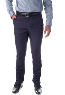 Calça 5560 Social Azul Marinho Traymon Modelagem Slim