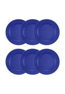 Conjunto De 6 Pratos Rasos 24Cm Donna Azul