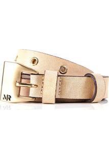 Cinto Cintura/Quadril Skinny Aplicacao Mini Ilhos Bege