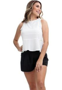 Blusa Clara Arruda Costa Laço Feminina - Feminino-Off White