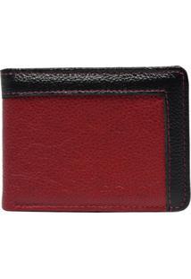 Carteira Em Couro Recuo Fashion Bag Vermelho