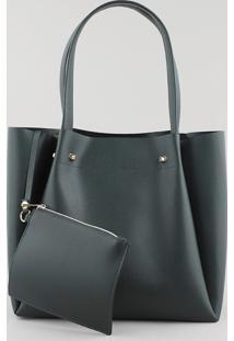 Bolsa Feminina Shopper Grande Com Piercings Verde Escuro - Único