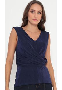 Blusa Texturizada Com Drapeado- Azul Marinho- Ennaenna
