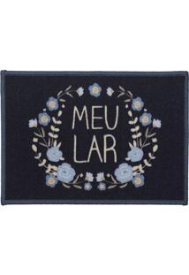 """Tapete """"Meu Lar""""- Azul Marinho & Off White- 60X40Cm"""