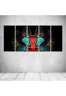 Quadro Decorativo - Face Gorilla Art - Composto De 5 Quadros - Multicolorido - Dafiti