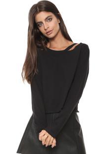 Camiseta Calvin Klein Jeans Recorte Preta