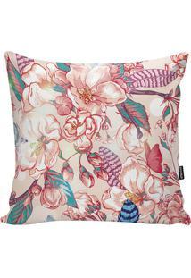 Capa De Almofada Flowers- Bege Claro & Rosa Escuro- Stm Home