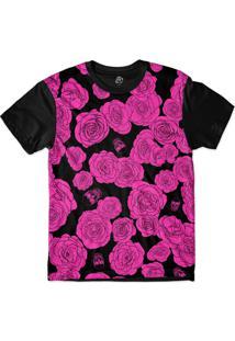 Camiseta Bsc Pink Flower And Skull Sublimada Preto