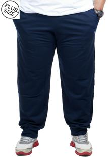 Calça Moletinho Plus Size Bigshirts - Azul Marinho