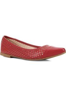 Sapatilha Shoestock Vazada Bico Fino Feminina - Feminino-Vermelho