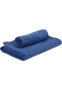 Jogo De Banho Com 02 Toalhas Atlantica Azul