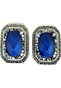 Brinco Armazém Rr Bijoux Quadrado Pedra Azul