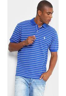 Camisa Polo U.S. Polo Assn Piquet Listrada Masculina - Masculino-Azul Royal
