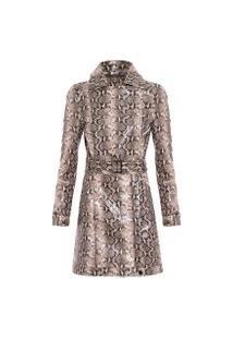 Casaco Feminino Trend Coat Like Leather - Animal Print