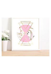 Quadro Decorativo Com Moldura Geometric Pink Branco - 30X40Cm