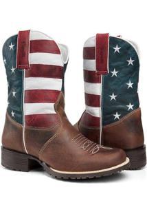Bota Texana Country Capelli Boots Couro Bandeira Usa Bico Redondo Masculina - Masculino-Marrom
