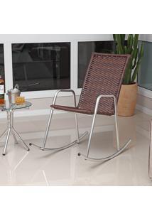 Cadeira Balanço De Alumínio Revestida Com Fibra Sintética Cb300 – Alegro Móveis. - Castanho