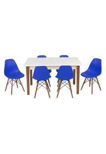 Conjunto Mesa De Jantar Luiza 135Cm Branca Com 6 Cadeiras Eames Eiffel - Azul