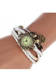 Relógio Feminino Quartzo Com Pingente Trevo De Quatro Folhas - Branco