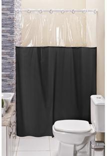 Cortina Box Banheiro Lisa C/ Detalhe Transparente Em Pvc Preto