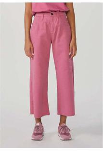 Calça Feminina Wide Leg Em Sarja De Algodão Rosa