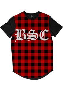 Camiseta Bsc Longline Xadrez Bsc Sublimada Preta Vermelha