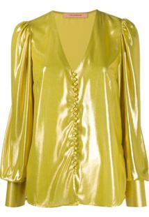 Andamane Cecilia Metallic Blouse - Dourado