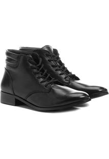 9597047de ... Bota Couro Coturno Shoestock Feminina - Feminino-Preto