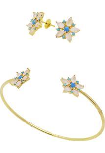 Conjunto La Madame Co Bracelete E Brincos Dourado - Kanui