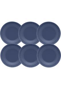 Conjunto 6 Pratos Fundos Oxford Mia Maré 23Cm Porcelana Azul