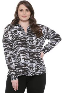 Camisa Cativa Plus Estampada Cinza/Preta