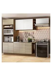 Cozinha Completa Madesa Stella 290002 Com Armário E Balcão Rustic/Saara/Branco Cor:Rustic/Saara/Branco