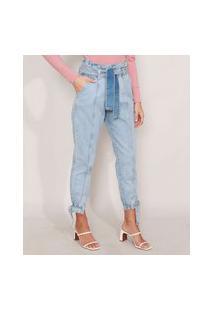 Calça Clochard Jogger Jeans Com Recortes E Faixa Para Amarrar Cintura Super Alta Azul Claro