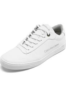 Sapatênis Couro Calvin Klein Logo Branco