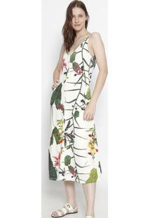 Vestido MãDi Floral Com Recortes - Off White & Verdeosklen