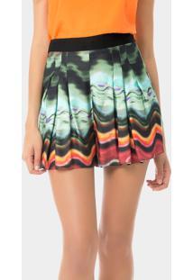Shorts Cintura Alta Estampado Aquarela Africana - Lez A Lez