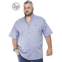 Camisa Plus Size Bigshirts Manga Curta Linho Gola Padre - Azul 24f7642001f8e