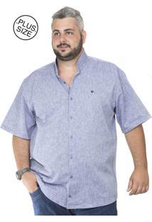Camisa Plus Size Bigshirts Manga Curta Linho Gola Padre - Azul