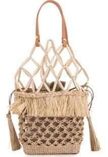 Aranáz Lambat Woven Handbag - Marrom