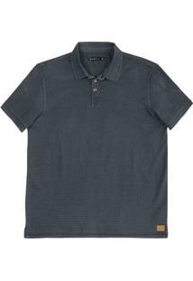 Camisa Polo Masculina Em Malha De Algodão Com Fio Índigo